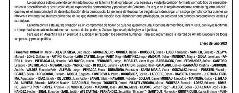La solicitada a favor de Amado Boudou y la crisis en el Frente de Todos